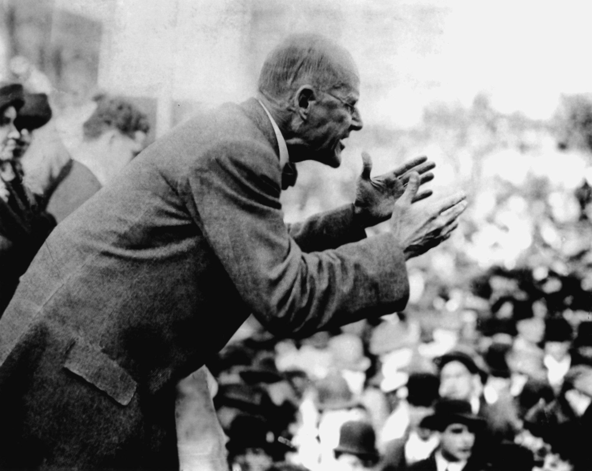 Eugene V. Debs delivering his anti-war speech in Canton, Ohio on June 16, 1918. He would later be jailed for the speech. (Wikimedia Commons)